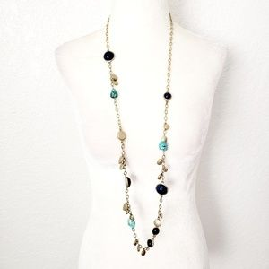 CHICO'S Long Gold Chain & Stone Statement Necklace